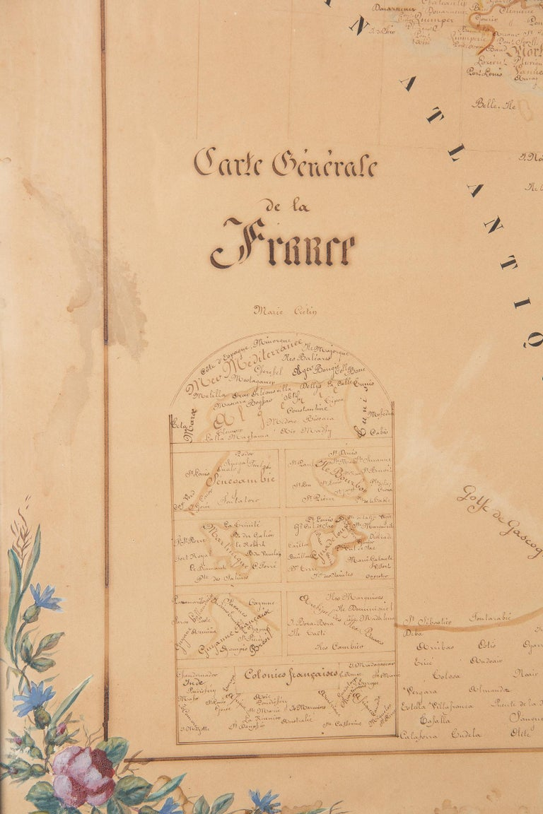 French Napoleon III Framed Hand Drawn Map of France, 1870s For Sale 8