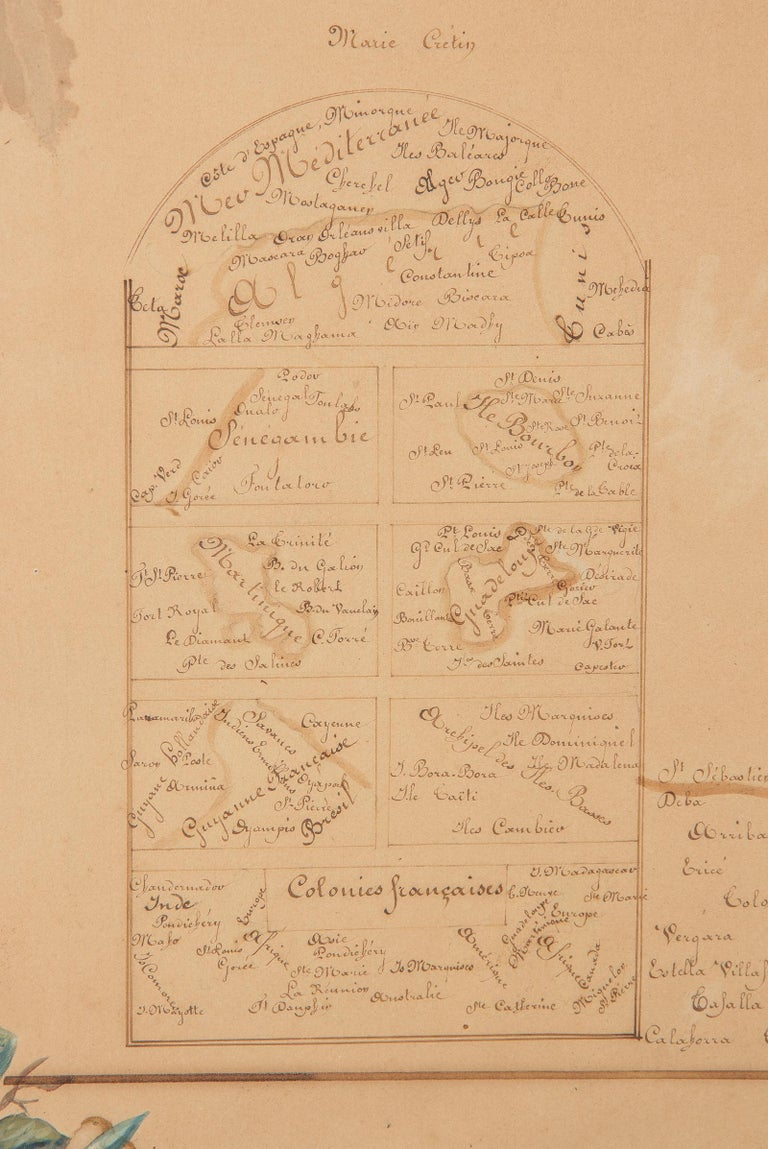 French Napoleon III Framed Hand Drawn Map of France, 1870s For Sale 9