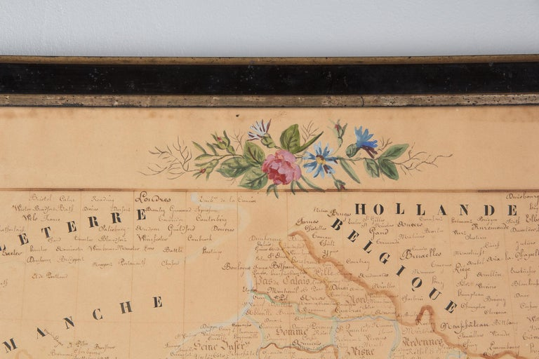 French Napoleon III Framed Hand Drawn Map of France, 1870s For Sale 10