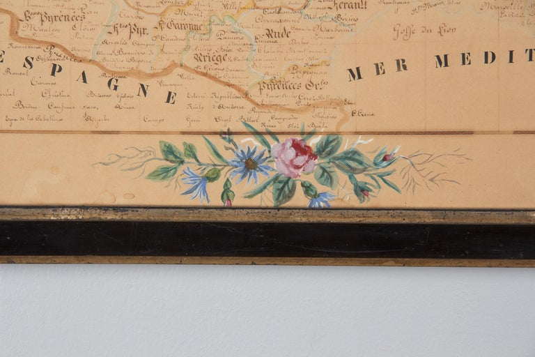 French Napoleon III Framed Hand Drawn Map of France, 1870s For Sale 11