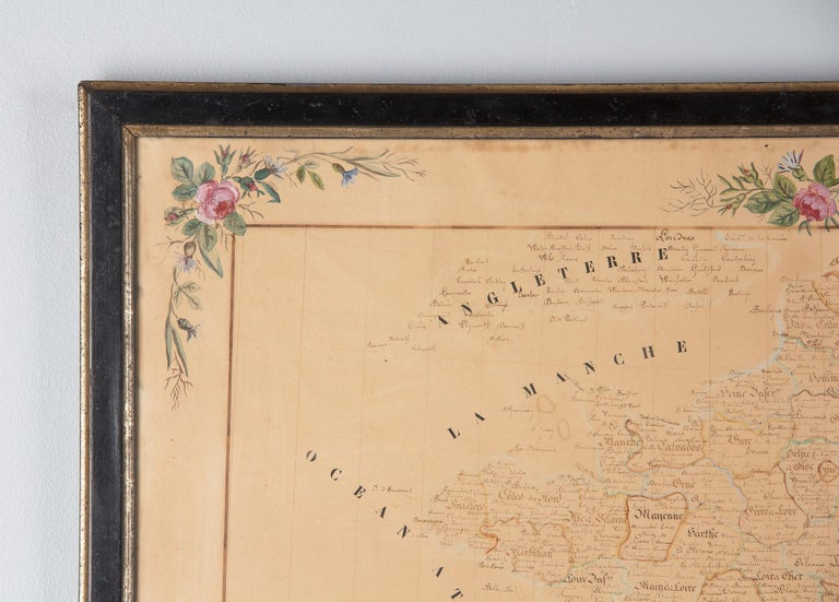 French Napoleon III Framed Hand Drawn Map of France, 1870s In Good Condition For Sale In Austin, TX