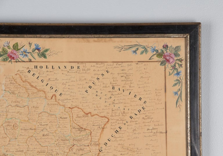 Late 19th Century French Napoleon III Framed Hand Drawn Map of France, 1870s For Sale