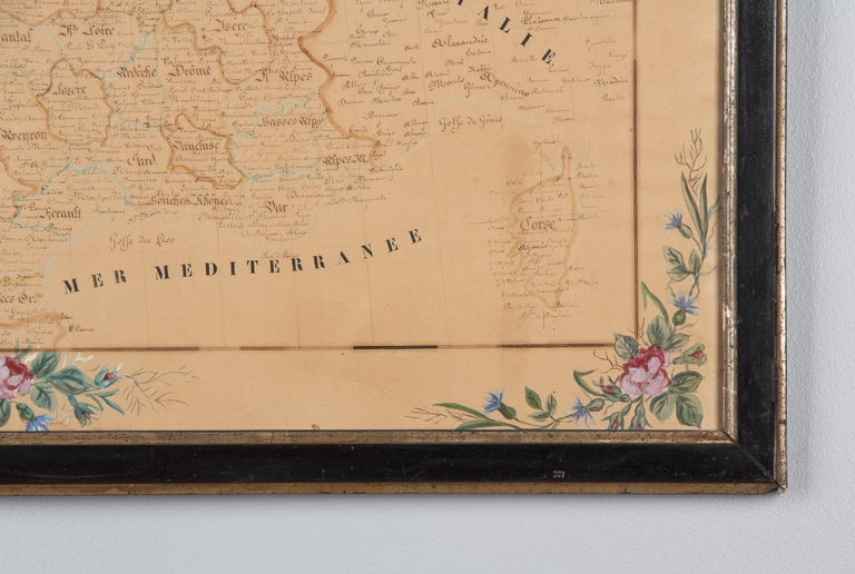 Wood French Napoleon III Framed Hand Drawn Map of France, 1870s For Sale
