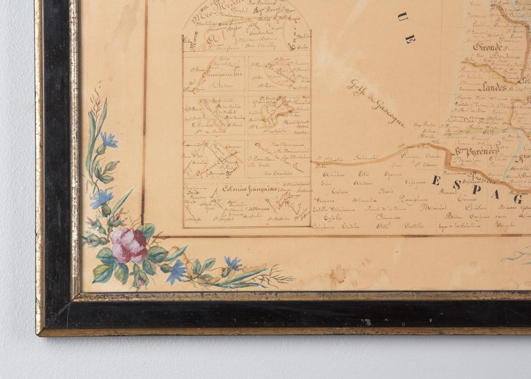French Napoleon III Framed Hand Drawn Map of France, 1870s For Sale 1