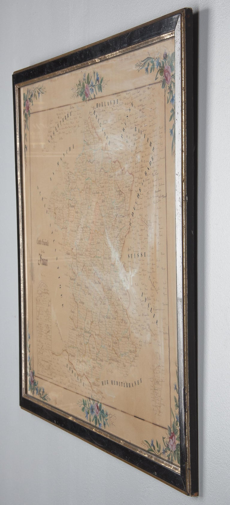 French Napoleon III Framed Hand Drawn Map of France, 1870s For Sale 2