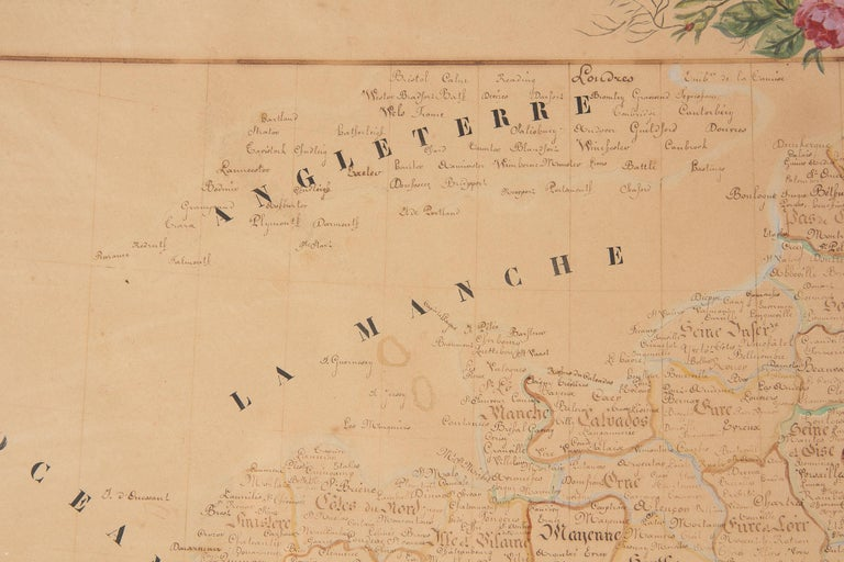 French Napoleon III Framed Hand Drawn Map of France, 1870s For Sale 3