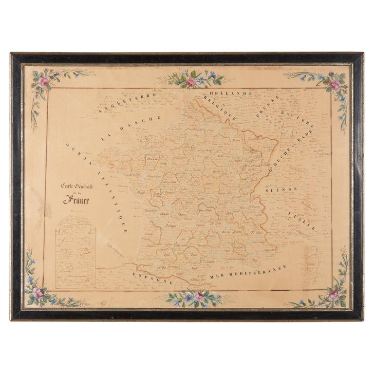 French Napoleon III Framed Hand Drawn Map of France, 1870s For Sale