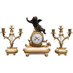 French Napoleon III Gilt Bronze and White Marble Clock Set