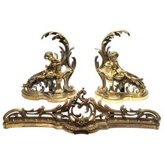 French Napoleon III Gilt Bronze Fireplace Fender and Cherub Chenets