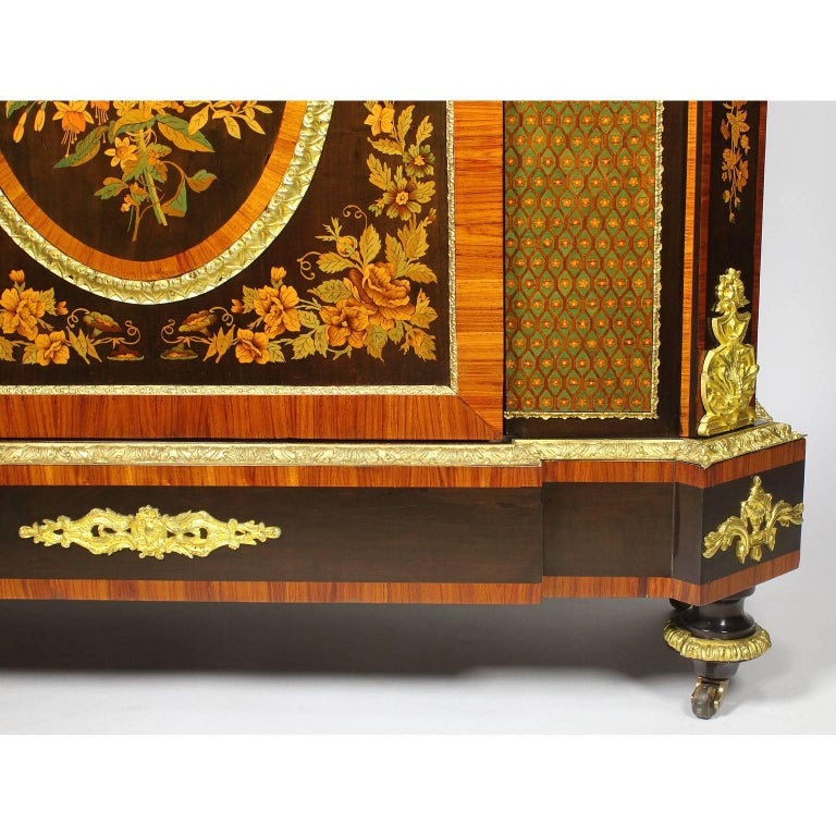 French Napoleon III Gilt Bronze Mounted & Marquetry Side Cabinet with Marble Top For Sale 5