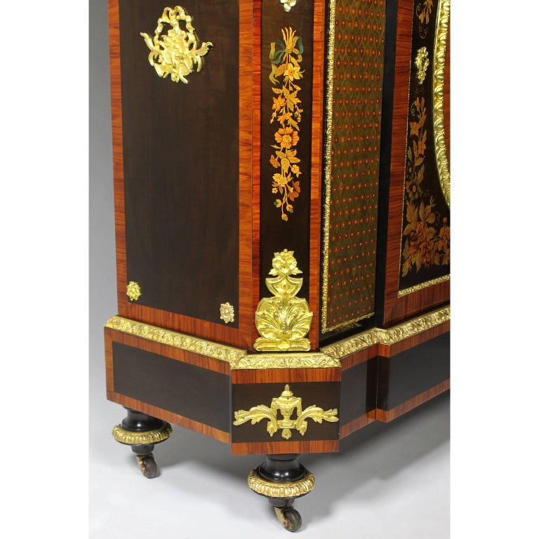 French Napoleon III Gilt Bronze Mounted & Marquetry Side Cabinet with Marble Top For Sale 7