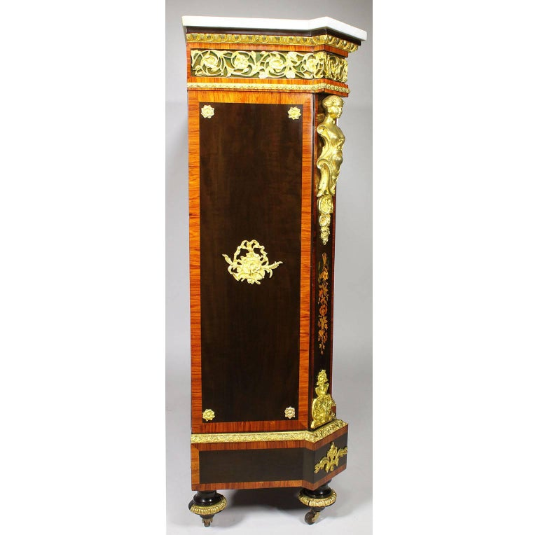 French Napoleon III Gilt Bronze Mounted & Marquetry Side Cabinet with Marble Top For Sale 8