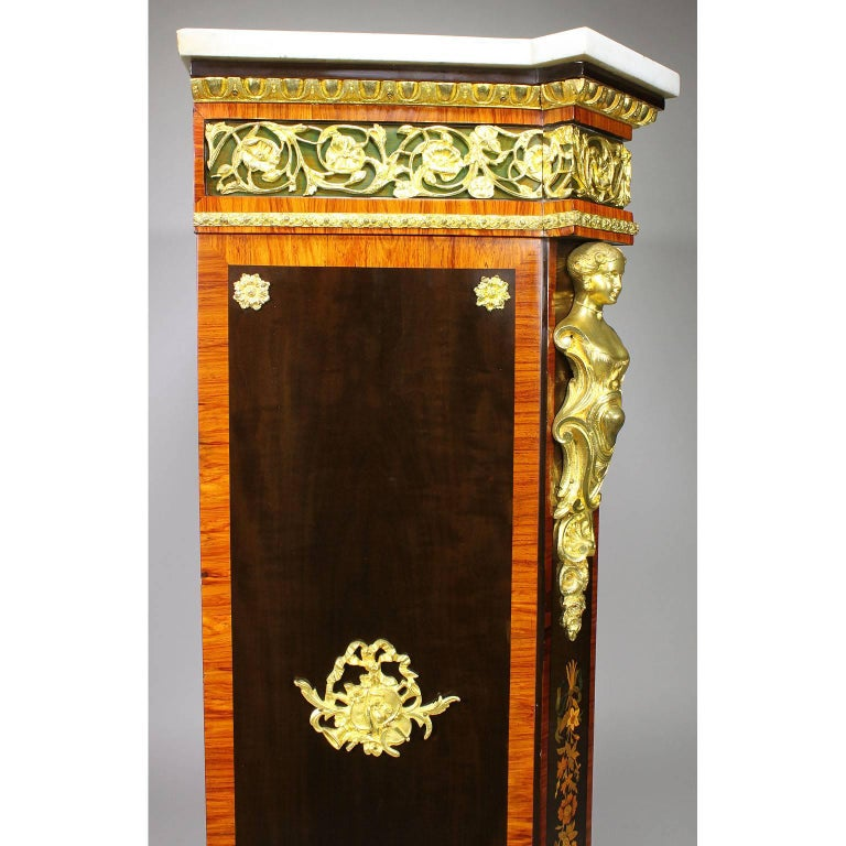 French Napoleon III Gilt Bronze Mounted & Marquetry Side Cabinet with Marble Top For Sale 9