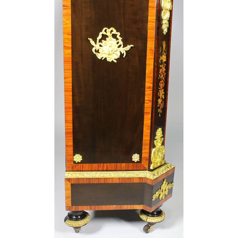 French Napoleon III Gilt Bronze Mounted & Marquetry Side Cabinet with Marble Top For Sale 10