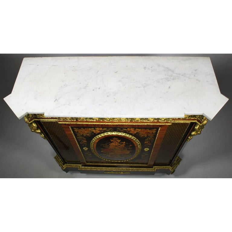 French Napoleon III Gilt Bronze Mounted & Marquetry Side Cabinet with Marble Top For Sale 11