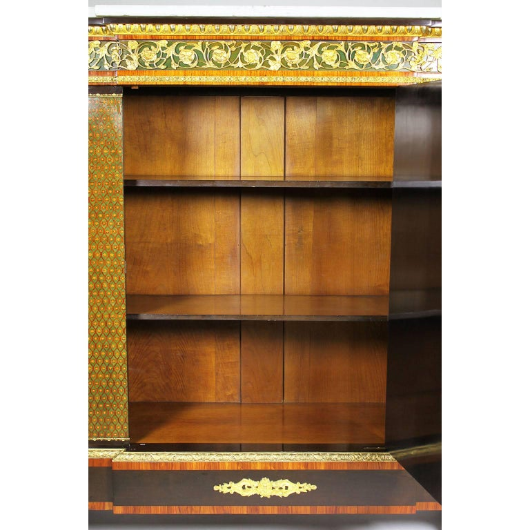 French Napoleon III Gilt Bronze Mounted & Marquetry Side Cabinet with Marble Top For Sale 12