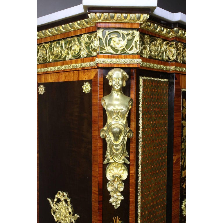 French Napoleon III Gilt Bronze Mounted & Marquetry Side Cabinet with Marble Top In Excellent Condition For Sale In Los Angeles, CA