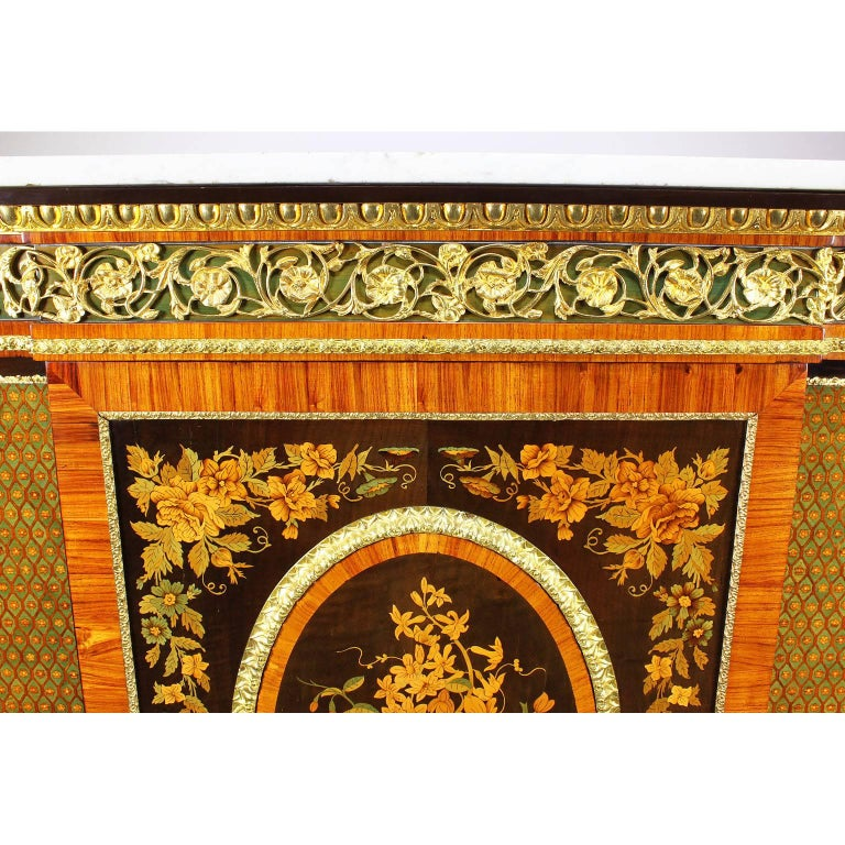 19th Century French Napoleon III Gilt Bronze Mounted & Marquetry Side Cabinet with Marble Top For Sale