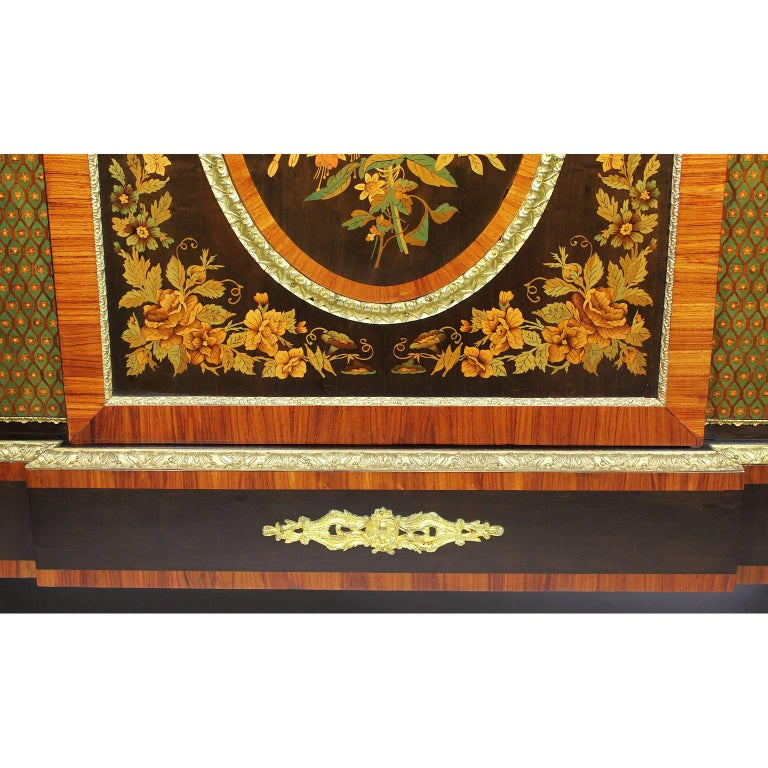 French Napoleon III Gilt Bronze Mounted & Marquetry Side Cabinet with Marble Top For Sale 1
