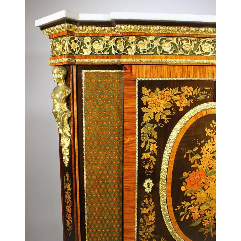 French Napoleon III Gilt Bronze Mounted & Marquetry Side Cabinet with Marble Top For Sale 2