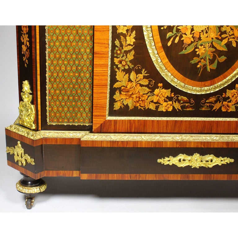 French Napoleon III Gilt Bronze Mounted & Marquetry Side Cabinet with Marble Top For Sale 3