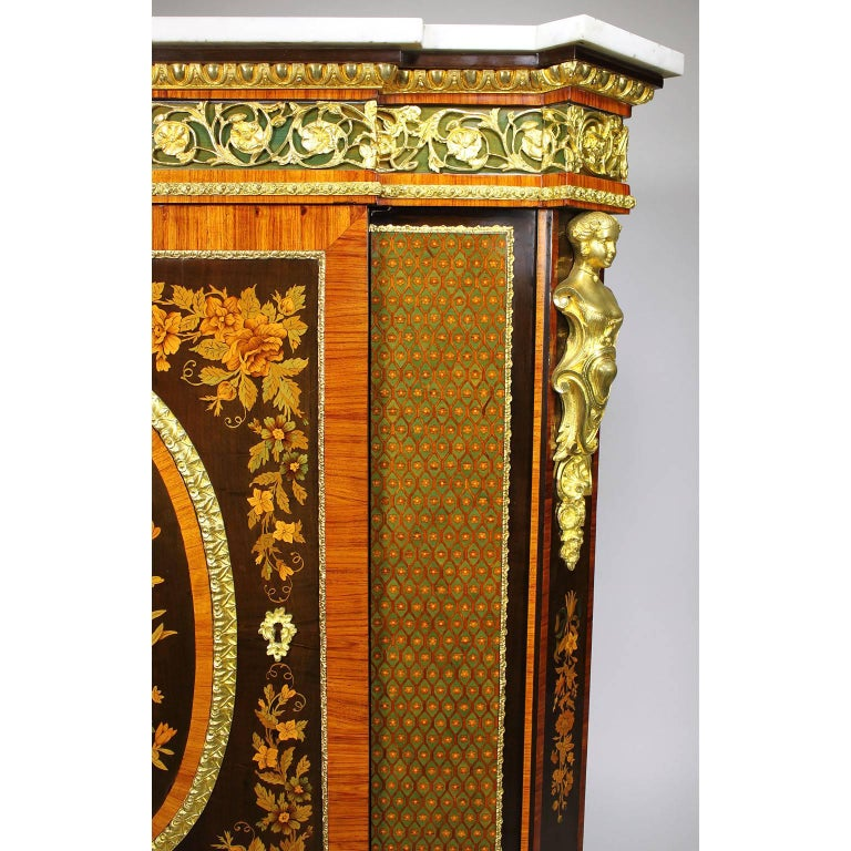 French Napoleon III Gilt Bronze Mounted & Marquetry Side Cabinet with Marble Top For Sale 4