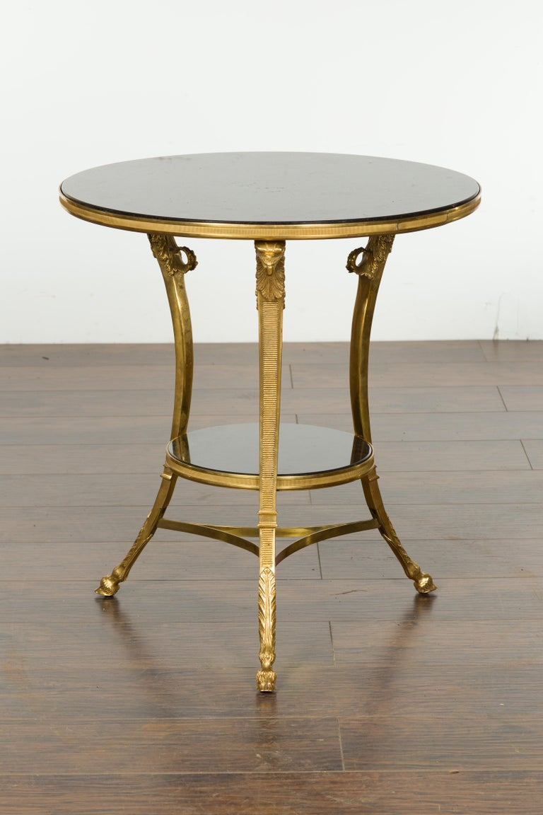 French Napoléon III Gilt Bronze Side Table with Black Marble Top Eagle Heads For Sale 5