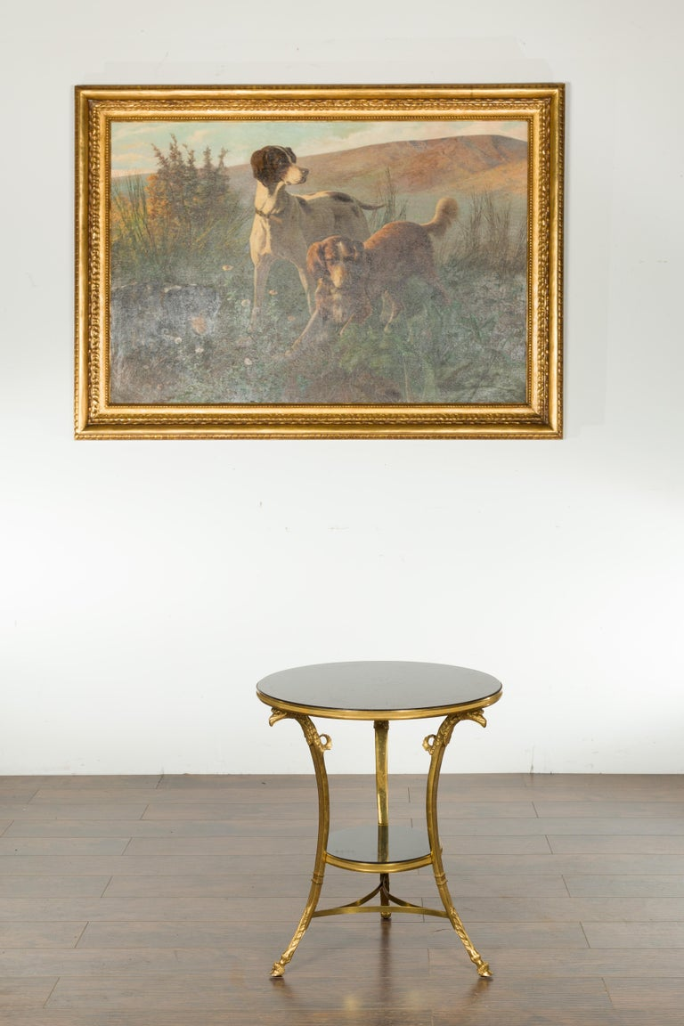 French Napoléon III Gilt Bronze Side Table with Black Marble Top Eagle Heads For Sale 8