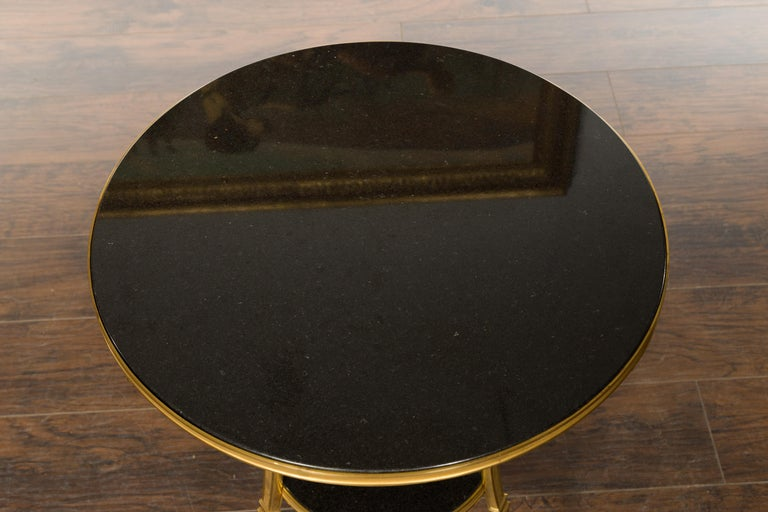 French Napoléon III Gilt Bronze Side Table with Black Marble Top Eagle Heads For Sale 9