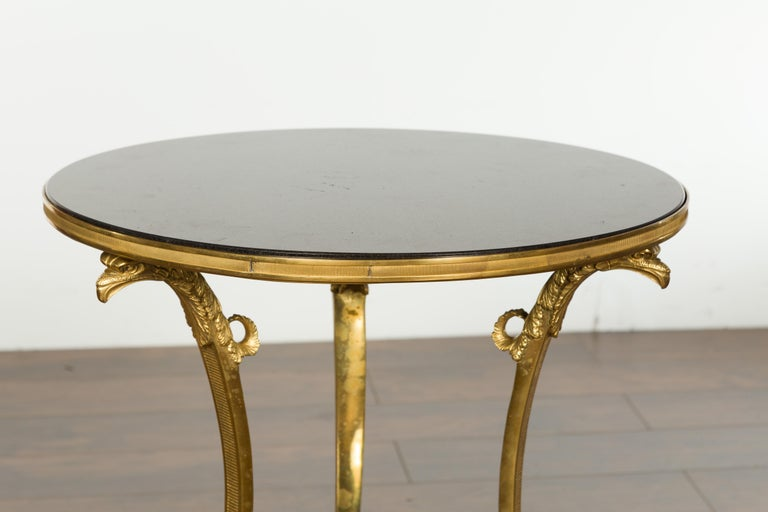 Napoleon III French Napoléon III Gilt Bronze Side Table with Black Marble Top Eagle Heads For Sale