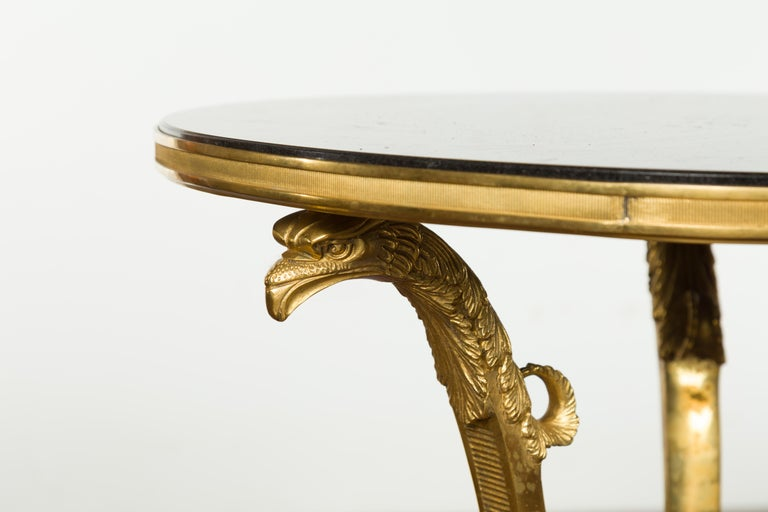 French Napoléon III Gilt Bronze Side Table with Black Marble Top Eagle Heads In Good Condition For Sale In Atlanta, GA