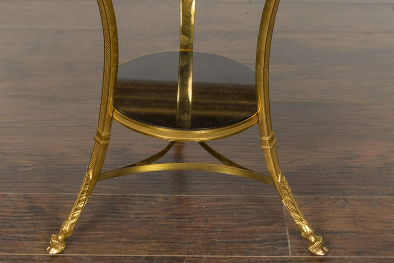 19th Century French Napoléon III Gilt Bronze Side Table with Black Marble Top Eagle Heads For Sale
