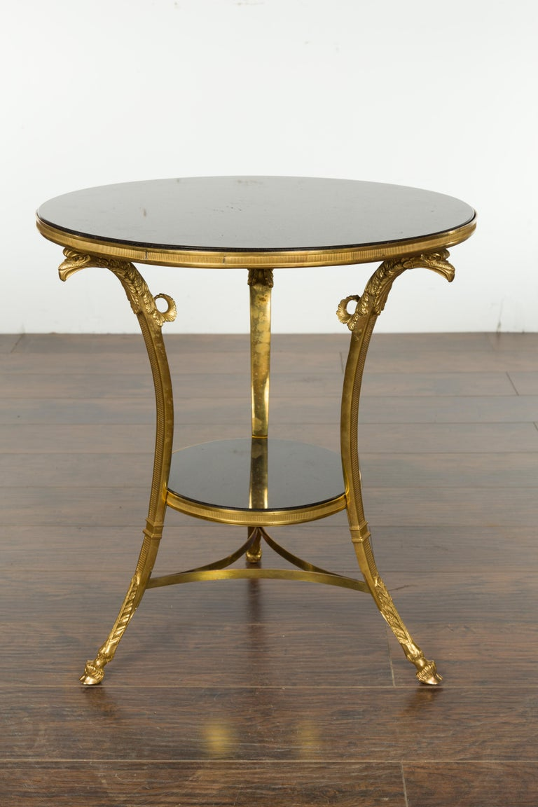 French Napoléon III Gilt Bronze Side Table with Black Marble Top Eagle Heads For Sale 1