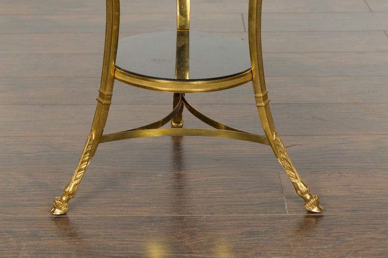 French Napoléon III Gilt Bronze Side Table with Black Marble Top Eagle Heads For Sale 2