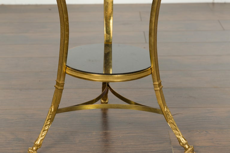French Napoléon III Gilt Bronze Side Table with Black Marble Top Eagle Heads For Sale 3