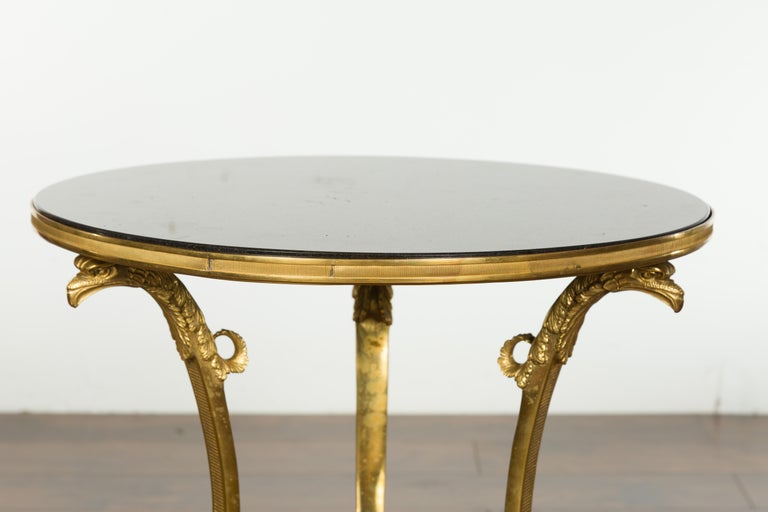 French Napoléon III Gilt Bronze Side Table with Black Marble Top Eagle Heads For Sale 4