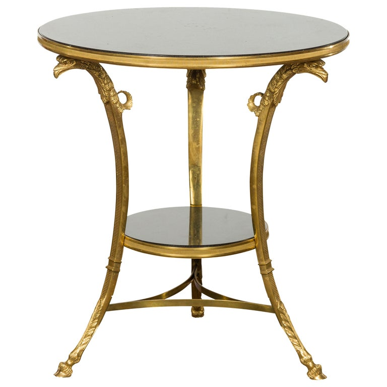 French Napoléon III Gilt Bronze Side Table with Black Marble Top Eagle Heads For Sale