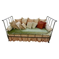 French Napoleon III Iron Grey Painted Daybed with Assorted Cushions
