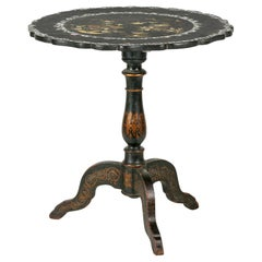 French Napoleon III Lacquered Tilt-Top Table Mother of Pearl Inlaid