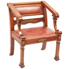 French Napoleon III Mahogany and Giltwood Desk Chair, circa 1890