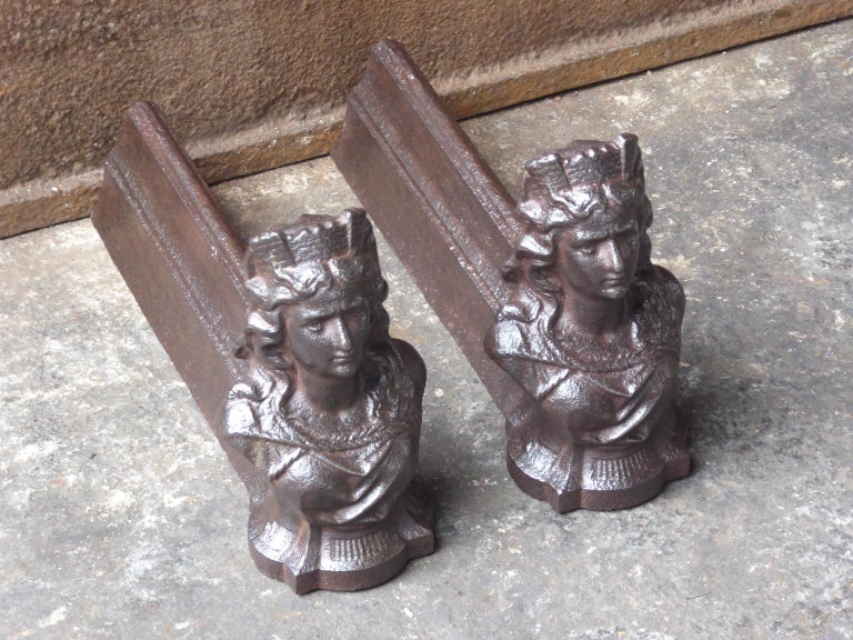 Cast French Napoleon III 'Marianne' Firedogs or Andirons For Sale