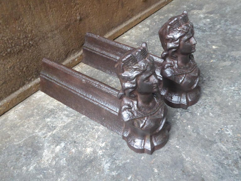 Iron French Napoleon III 'Marianne' Firedogs or Andirons For Sale