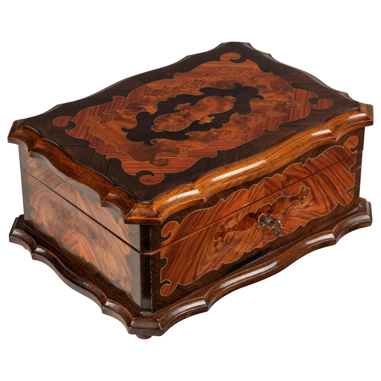 French Napoleon III Marquetry Jewelry Box