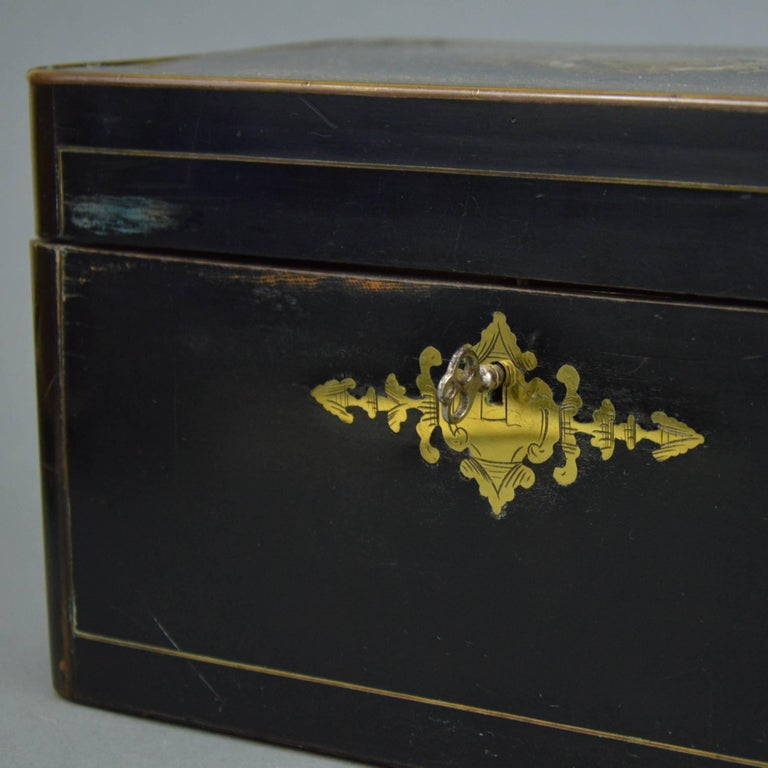 French Napoleon III Marquetry Tea Box, 19th Century In Good Condition For Sale In Brussels, BE