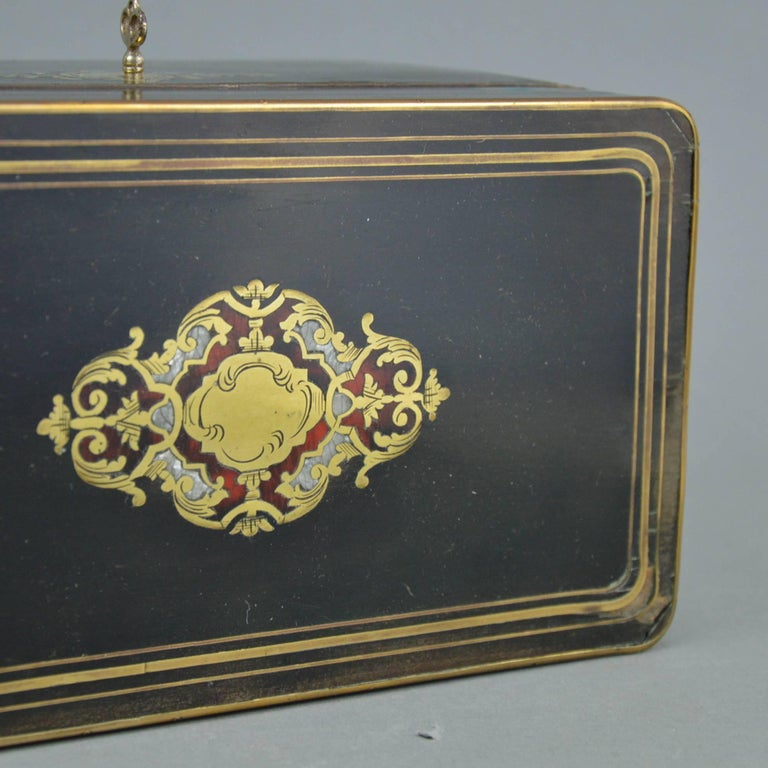 Wood French Napoleon III Marquetry Tea Box, 19th Century For Sale