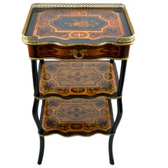 French Napoleon III Marquetry Three-Tiered Side Table
