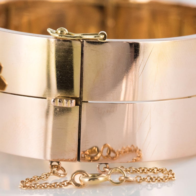 French Napoleon III Natural Pearl and Rose Gold Belt Bangle Bracelet For Sale 7