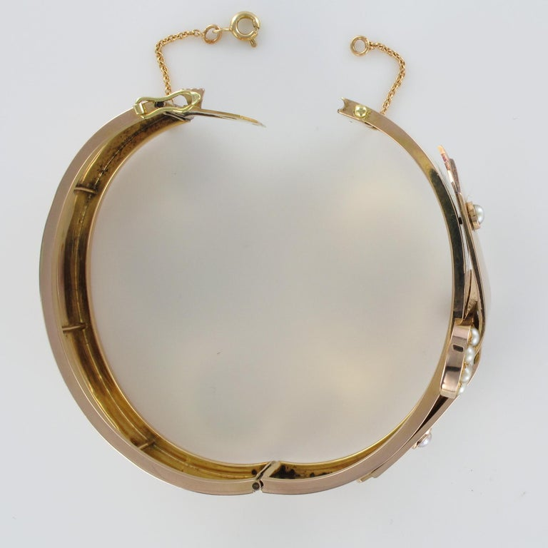 French Napoleon III Natural Pearl and Rose Gold Belt Bangle Bracelet For Sale 9