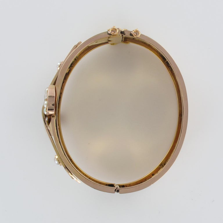 French Napoleon III Natural Pearl and Rose Gold Belt Bangle Bracelet For Sale 10