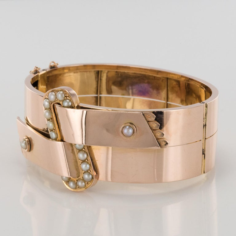 French Napoleon III Natural Pearl and Rose Gold Belt Bangle Bracelet In Good Condition For Sale In Poitiers, FR